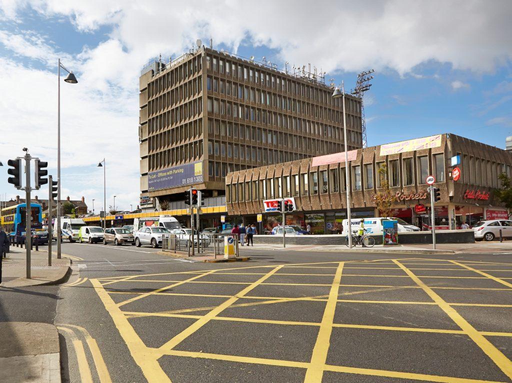 Brutalist architecture in Phibsboro shopping centre Dublin