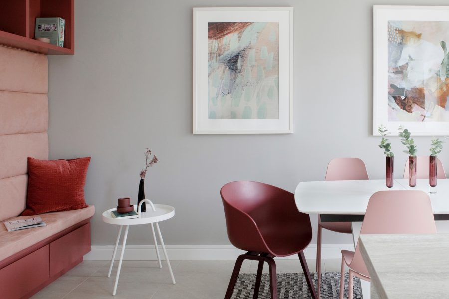 Kitchen dining Shades of Pink with light grey walls