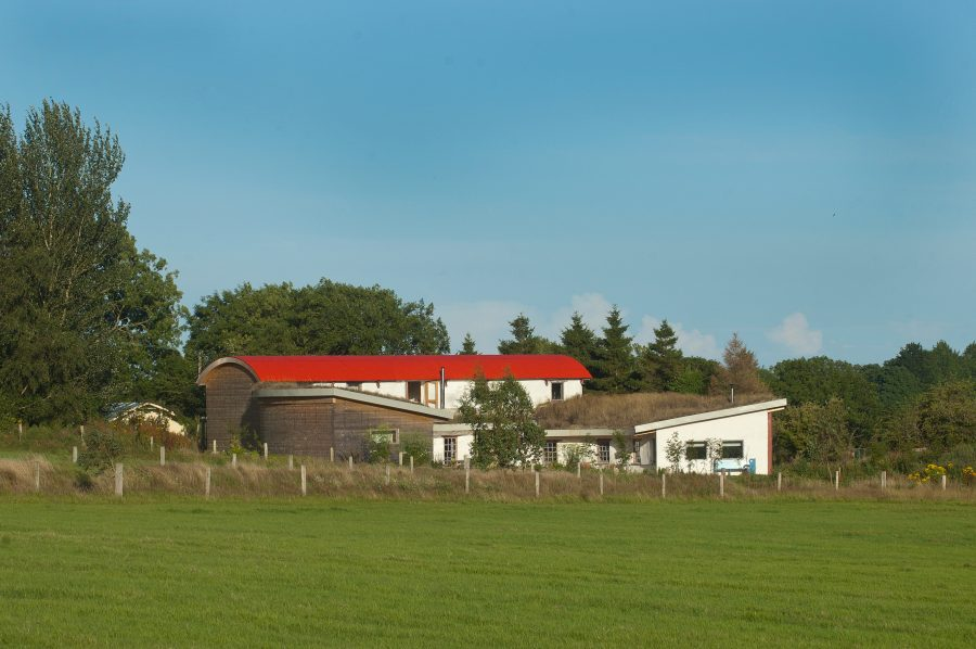 Home built in Co Wicklow from straw bales usd with steel structure with grass roofs