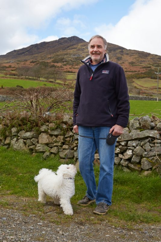 Man and dog out walking in Carlingford