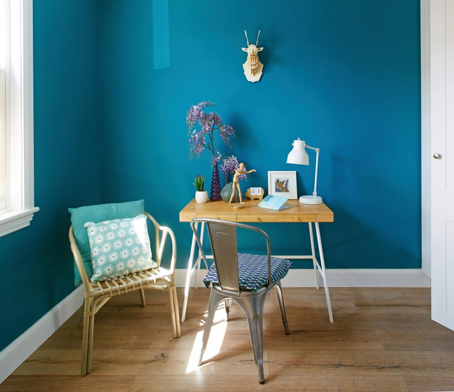 marine blue study room renovation