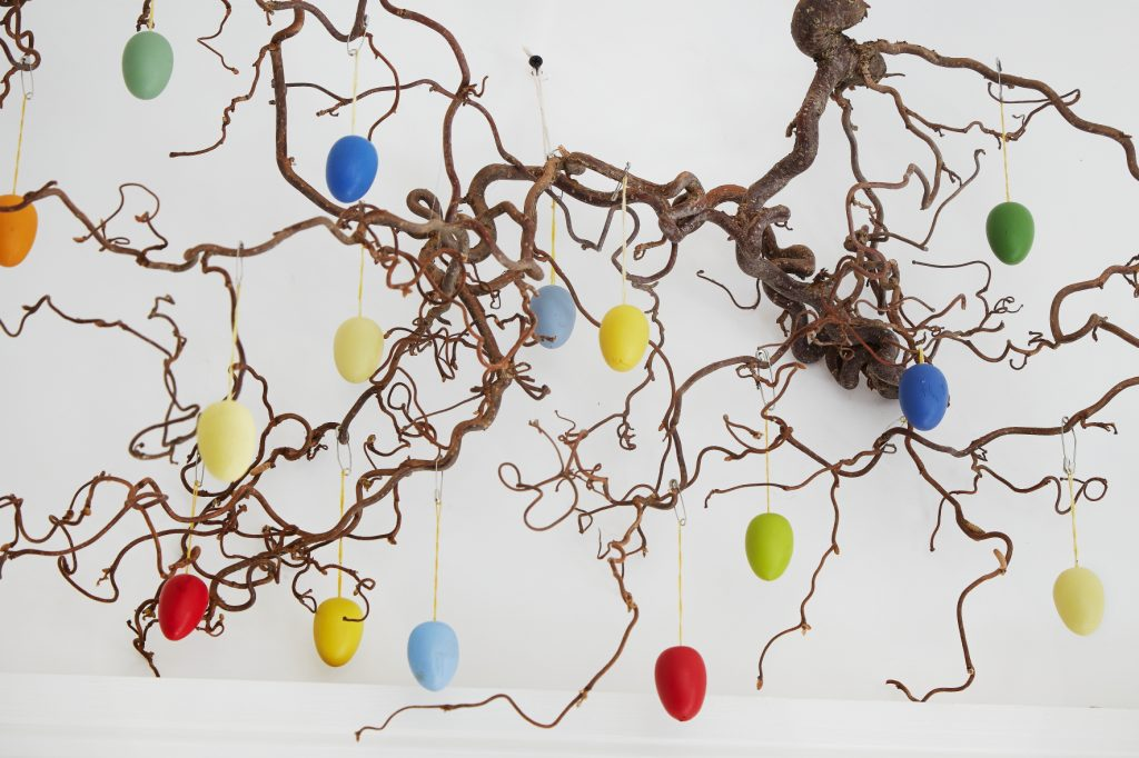 Decorated eggs hanging on a tree
