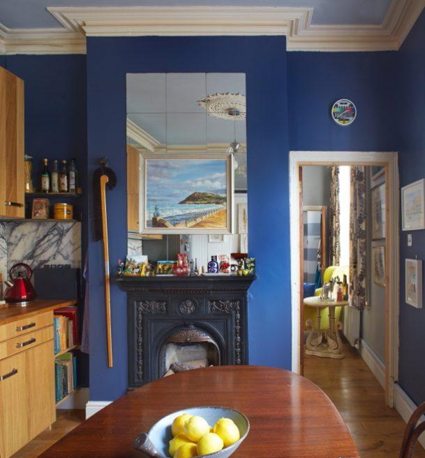 Dark blue kitchen interior