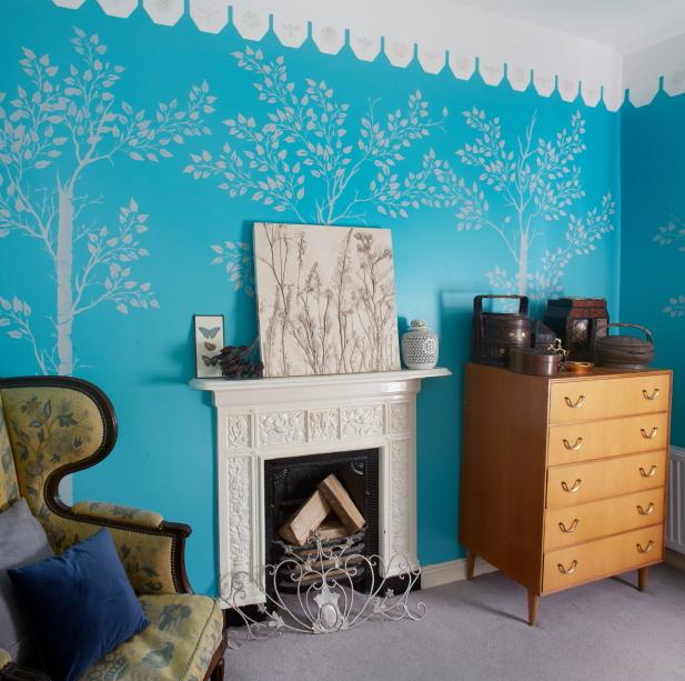 Bright blue bedroom interior