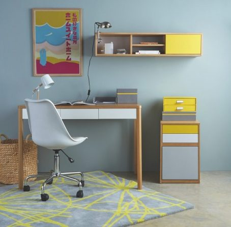 Home Office Desk and Chair in blues and grey colour scheme
