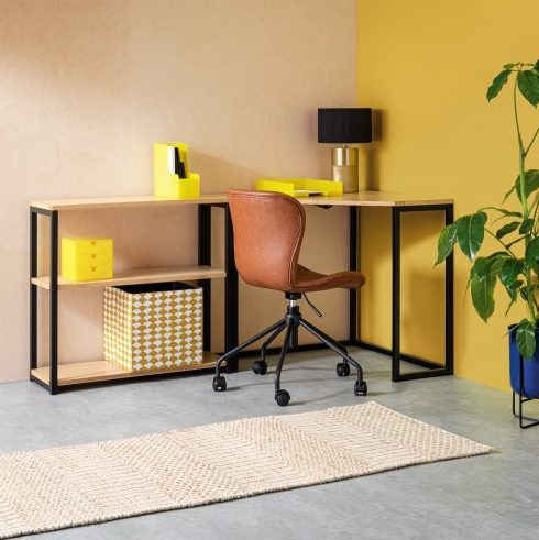 Brown leather office chair in yellow scheme