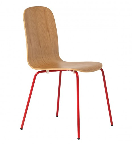 Bent ply chair with red legs