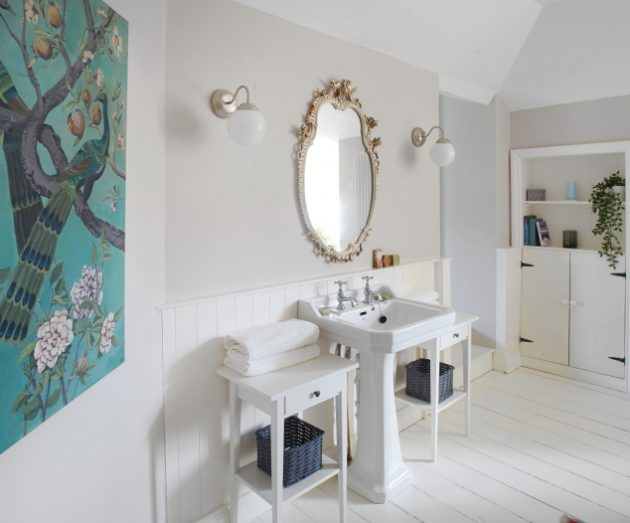 bathroom sink and side tables