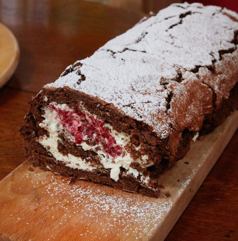 Chocolate Roulade with Raspberries from The Gallic Kitchen